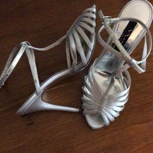 Nina Matte Silver ankle strap heels